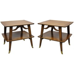 Mid-Century Modern Brass Feet Sculpted Walnut 2-Tier Side End Tables, a Pair