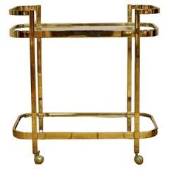 Mid-Century Modern Brass & Glass 2 Tier Trolley Bar Tea Serving Cart, 1970s
