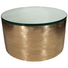 Mid-Century Modern Brass & Glass Cylindrical Drum Cocktail Table by Noel Jeffrey