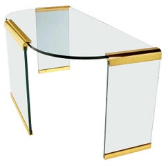 Mid-Century Modern Brass & Glass Desk or Console Table by Leon Rosen for Pace