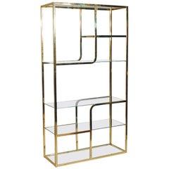 Mid-Century Modern Brass & Glass Étagère or Wall Unit after Milo Baughman