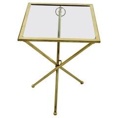 Mid-Century Modern Brass & Glass Folding Side End Table Italian Lacca Era, 1950s