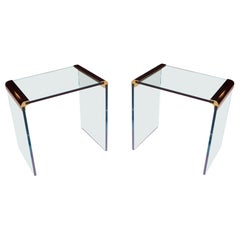 Mid-Century Modern Brass & Glass Pair of End Tables by Leon Rosen for Pace