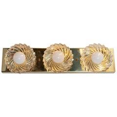 Mid-Century Modern Brass & Glass Pinwheel Three Bulb Vanity Light by Lightolier