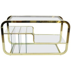 Mid-Century Modern Brass & Glass Server Table Record Console after Milo Baughman