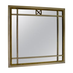 Mid-Century Modern Brass Glass Wall Mirror Attributed to Romeo Rega, Italy