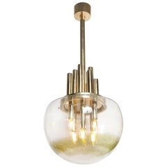 Mid-Century Modern Brass & Hand Blown Translucent/ Topaz Murano Glass Chandelier