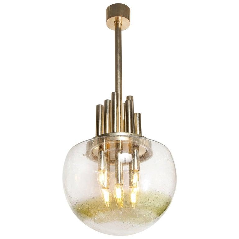 Mid-Century Modern Brass & Hand Blown Translucent/ Topaz Murano Glass Chandelier For Sale