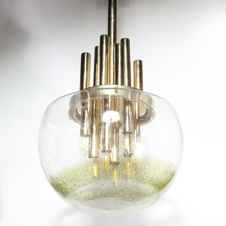 Mid-Century Modern Brass & Hand Blown Translucent/ Topaz Murano Glass Chandelier For Sale 5