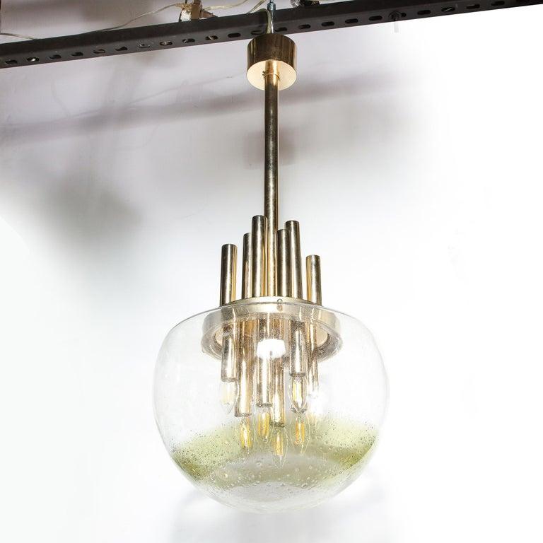 Mid-Century Modern Brass & Hand Blown Translucent/ Topaz Murano Glass Chandelier For Sale 6