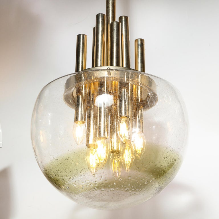Italian Mid-Century Modern Brass & Hand Blown Translucent/ Topaz Murano Glass Chandelier For Sale