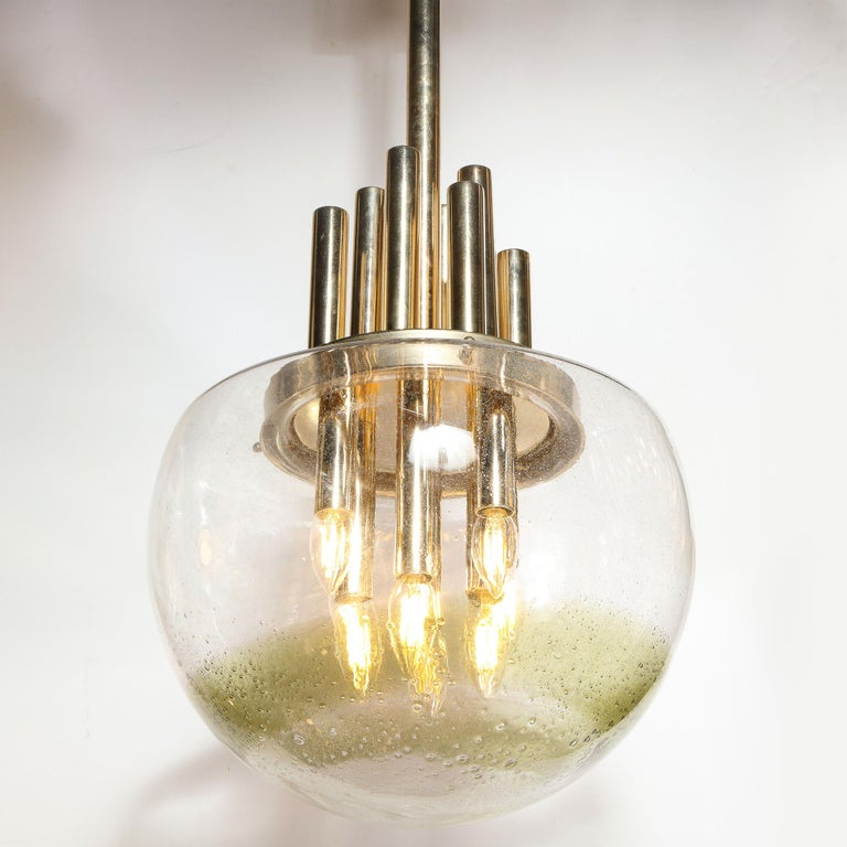 Mid-Century Modern Brass & Hand Blown Translucent/ Topaz Murano Glass Chandelier In Good Condition For Sale In New York, NY