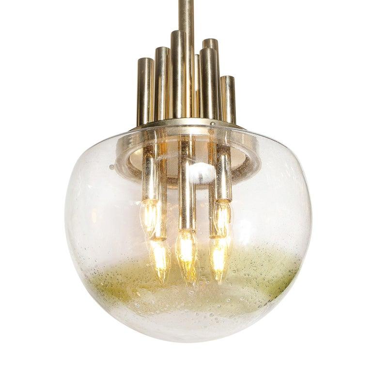 Late 20th Century Mid-Century Modern Brass & Hand Blown Translucent/ Topaz Murano Glass Chandelier For Sale