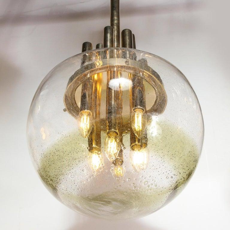Mid-Century Modern Brass & Hand Blown Translucent/ Topaz Murano Glass Chandelier For Sale 1