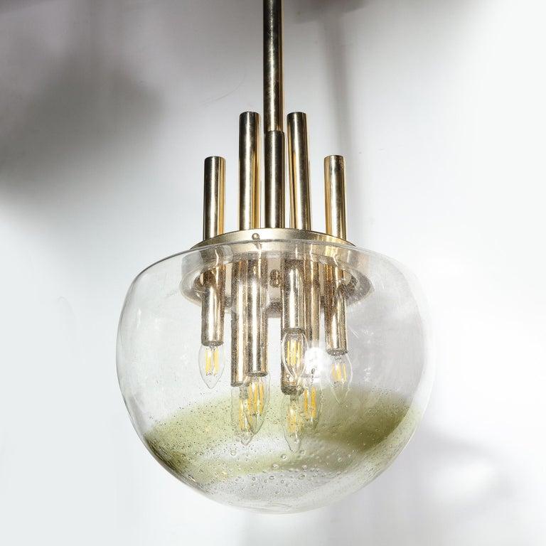 Mid-Century Modern Brass & Hand Blown Translucent/ Topaz Murano Glass Chandelier For Sale 3