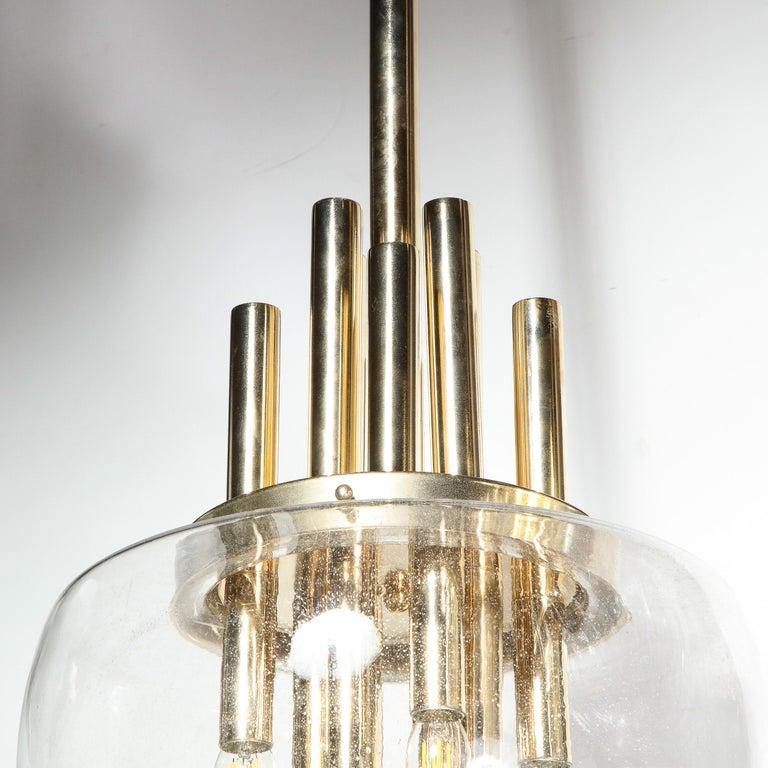 Mid-Century Modern Brass & Hand Blown Translucent/ Topaz Murano Glass Chandelier For Sale 4