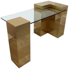 Mid-Century Modern Brass Interlocking Glass Desk Paul Evans Cityscape Style