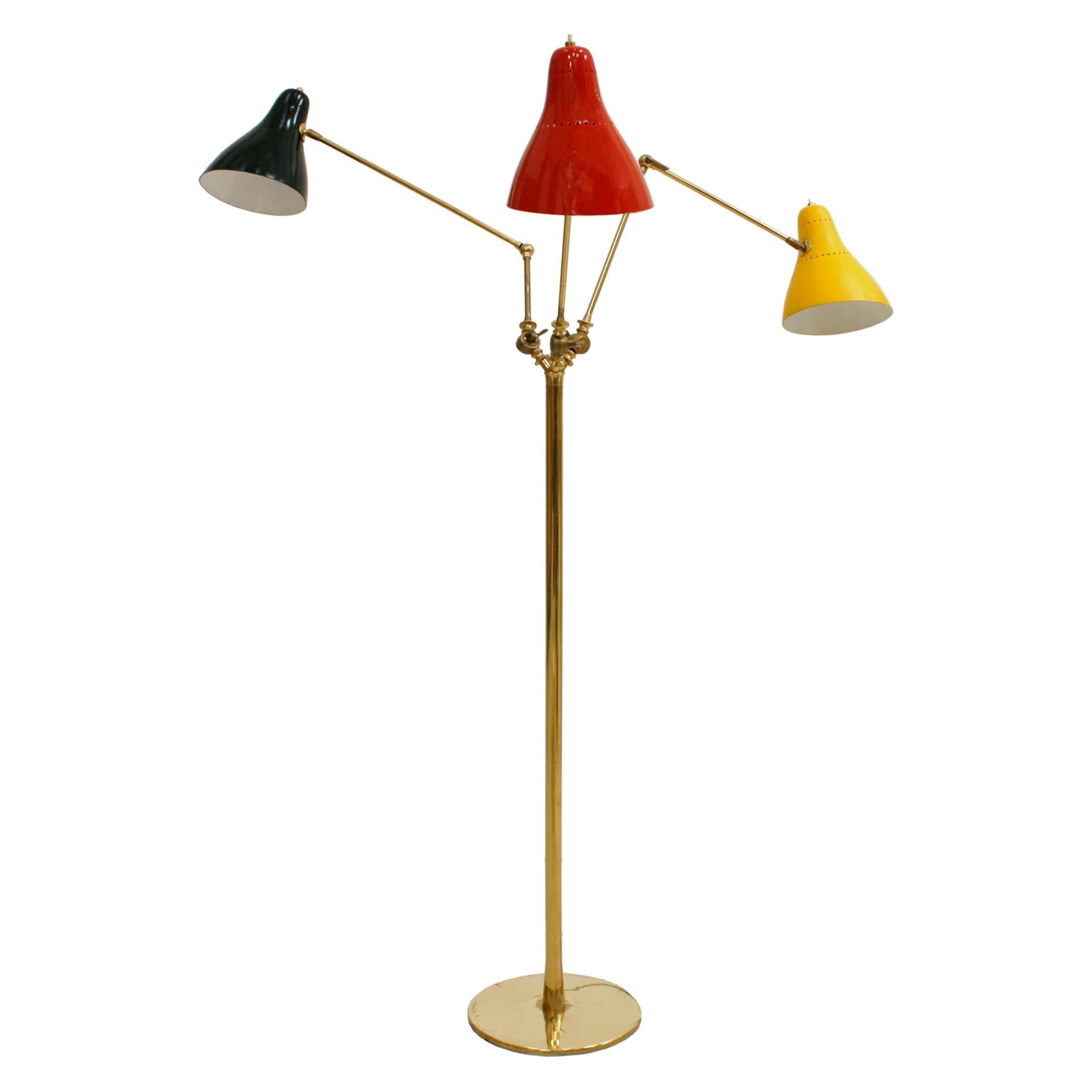 Mid-Century Modern Brass Italian Floor Lamp, 1950