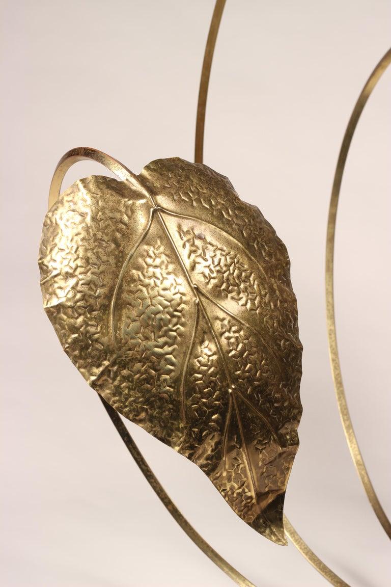 Mid-Century Modern Brass Italian Leaf Light by Tommaso Barbi, 1970s For Sale 7