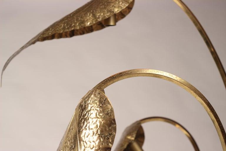 Mid-Century Modern Brass Italian Leaf Light by Tommaso Barbi, 1970s For Sale 16