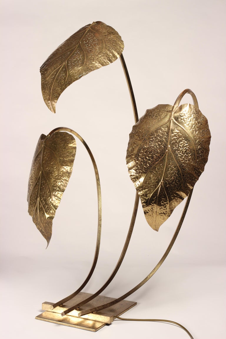 Late 20th Century Mid-Century Modern Brass Italian Leaf Light by Tommaso Barbi, 1970s For Sale
