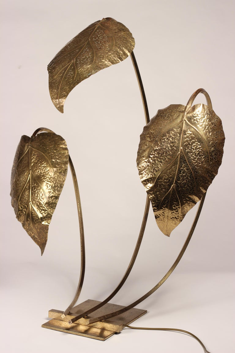 Mid-Century Modern Brass Italian Leaf Light by Tommaso Barbi, 1970s For Sale 1