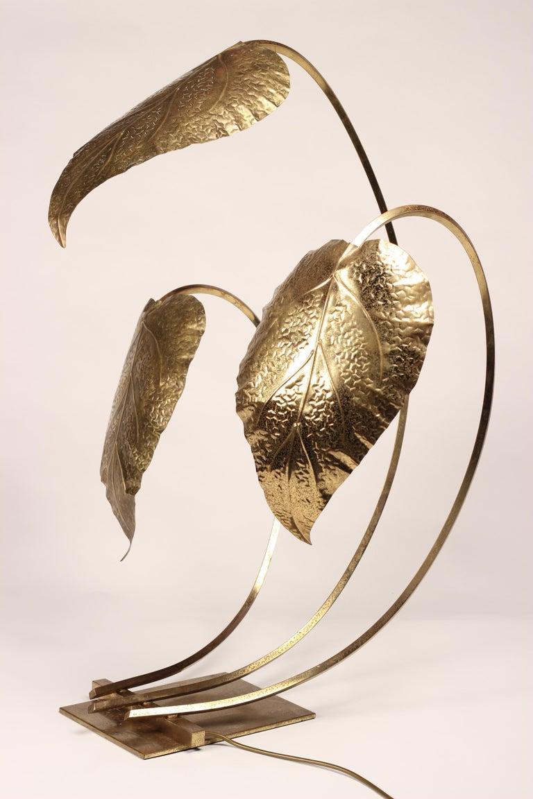 Mid-Century Modern Brass Italian Leaf Light by Tommaso Barbi, 1970s For Sale 2