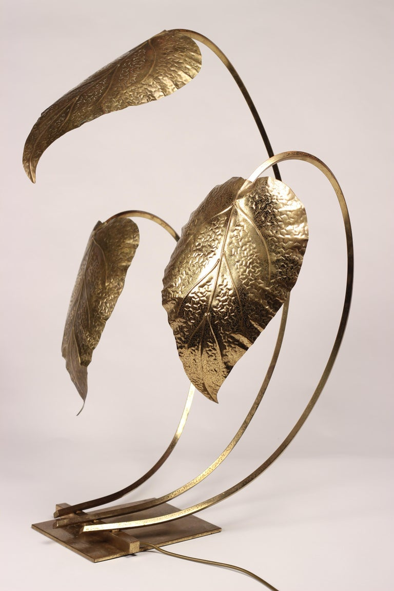 Mid-Century Modern Brass Italian Leaf Light by Tommaso Barbi, 1970s For Sale 3