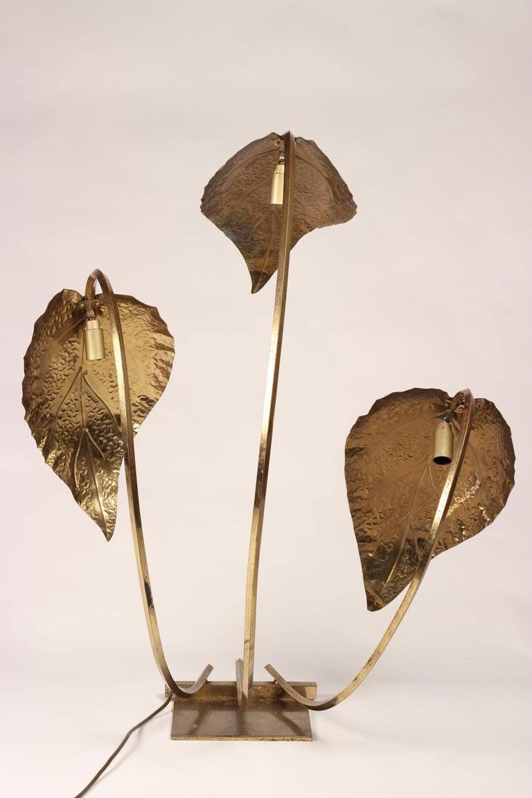Mid-Century Modern Brass Italian Leaf Light by Tommaso Barbi, 1970s For Sale 4