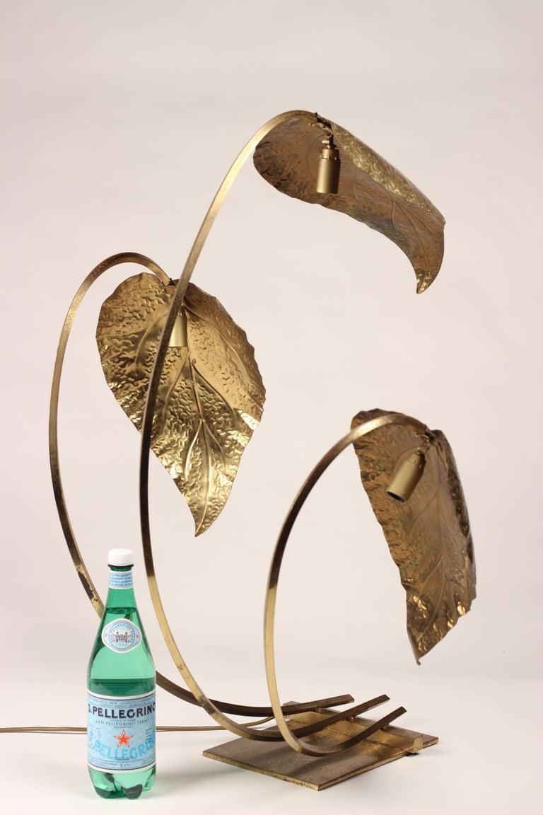Mid-Century Modern Brass Italian Leaf Light by Tommaso Barbi, 1970s For Sale 5