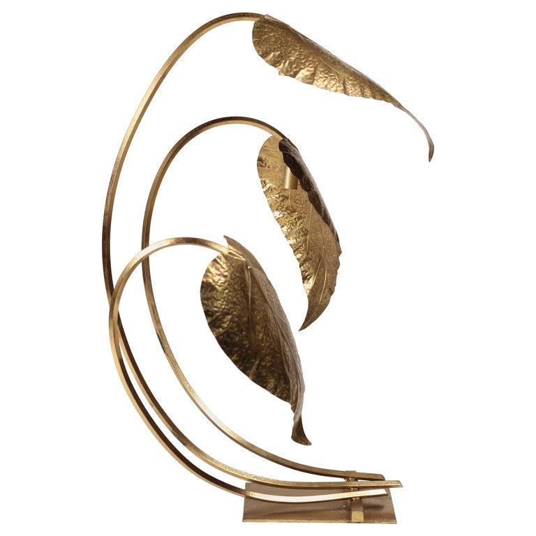 Mid-Century Modern Brass Italian Leaf Light by Tommaso Barbi, 1970s For Sale