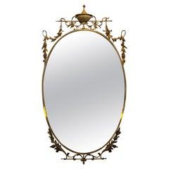 Mid-Century Modern Brass Italian Oval Mirror, circa 1960