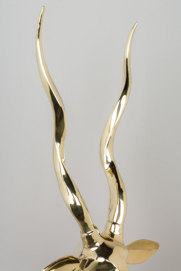 Mid-Century Modern Brass Kudo Antelope For Sale 4