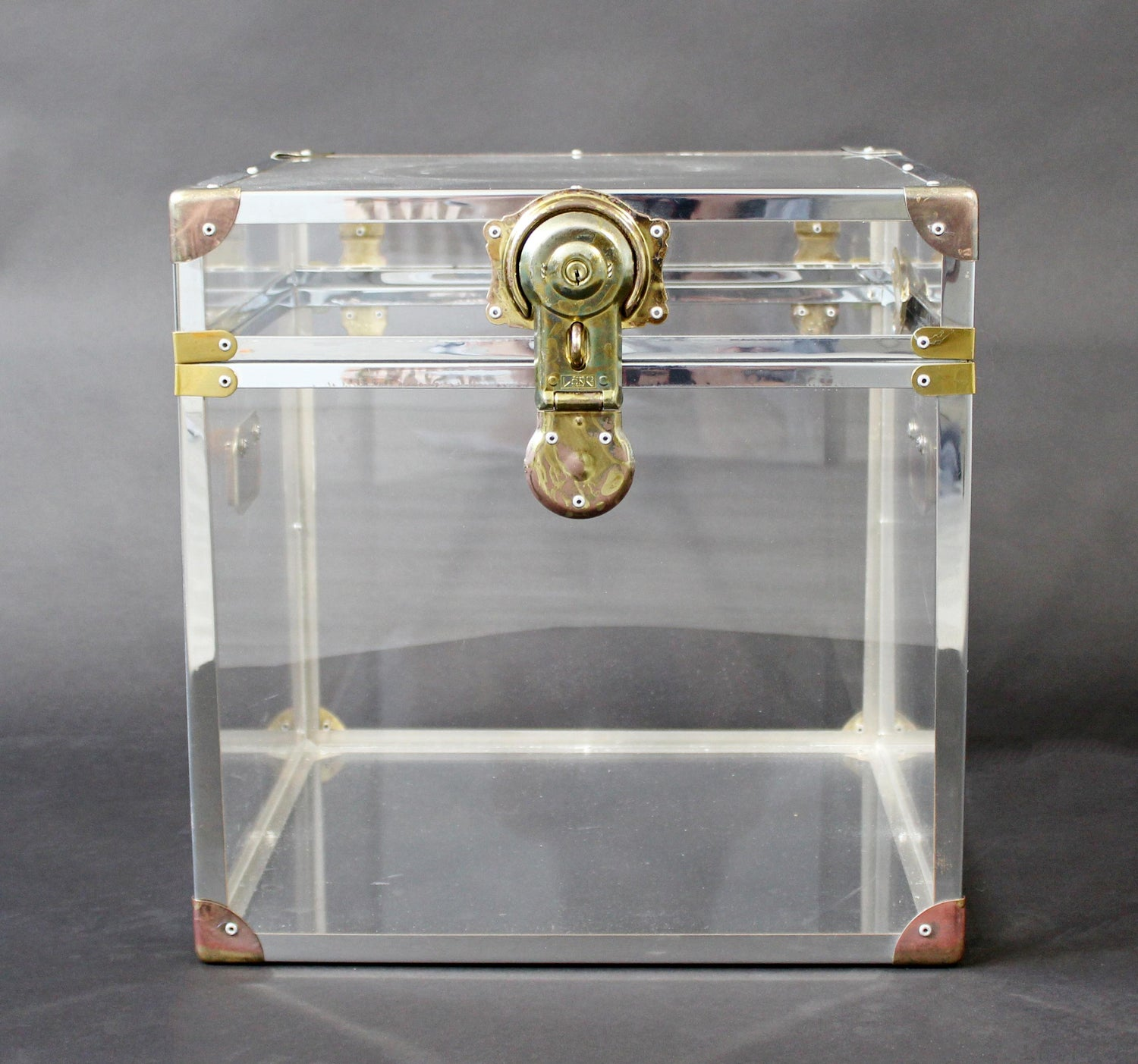 Mid Century Modern Brass Lucite Acrylic Square Side End Cabinet Table 1970s
