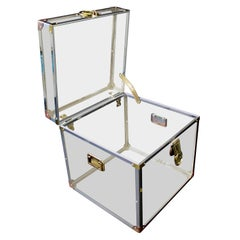 Mid-Century Modern Brass Lucite Acrylic Square Side End Cabinet Table, 1970s