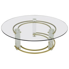 Mid-Century Modern Brass Lucite Round Glass Charles Hollis Jones Coffee Table