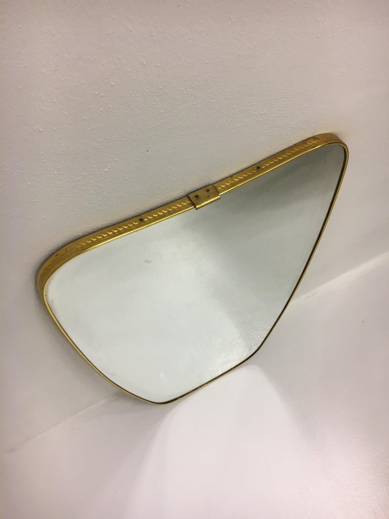 Italian Mid-Century Modern Brass Mirror, Italy 1950s For Sale