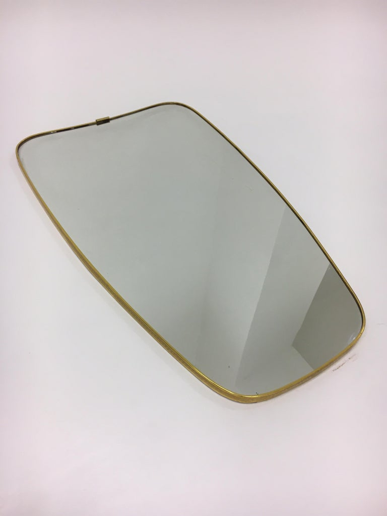 Mid-Century Modern Brass Mirror, Italy 1950s In Good Condition For Sale In Vienna, AT