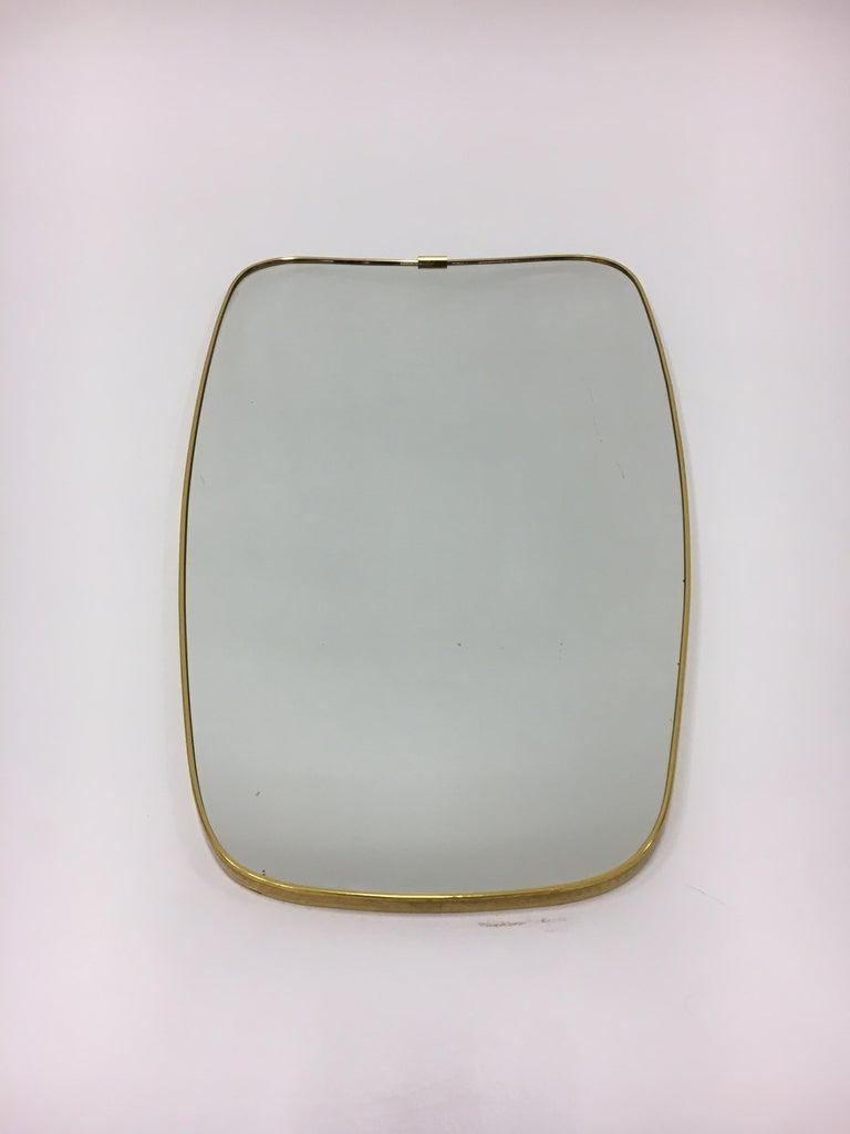 Mid-20th Century Mid-Century Modern Brass Mirror, Italy 1950s For Sale