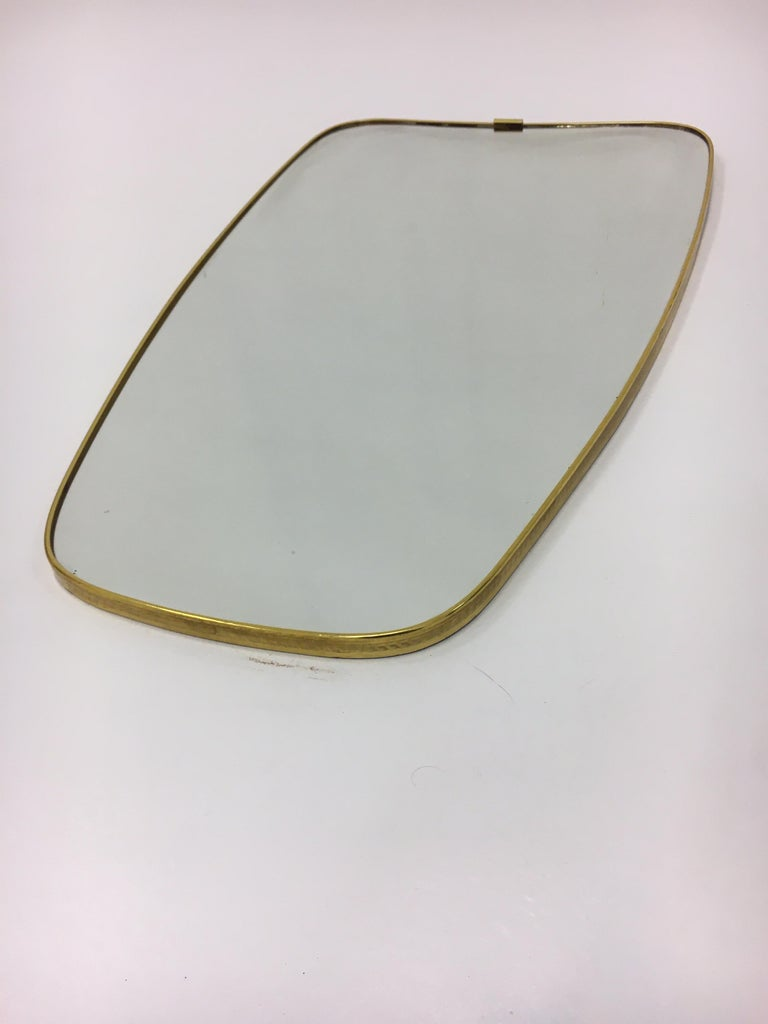 Glass Mid-Century Modern Brass Mirror, Italy 1950s For Sale
