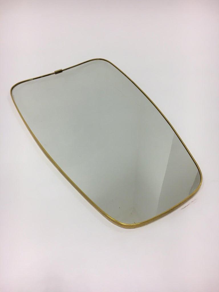 Mid-Century Modern Brass Mirror, Italy 1950s For Sale 1