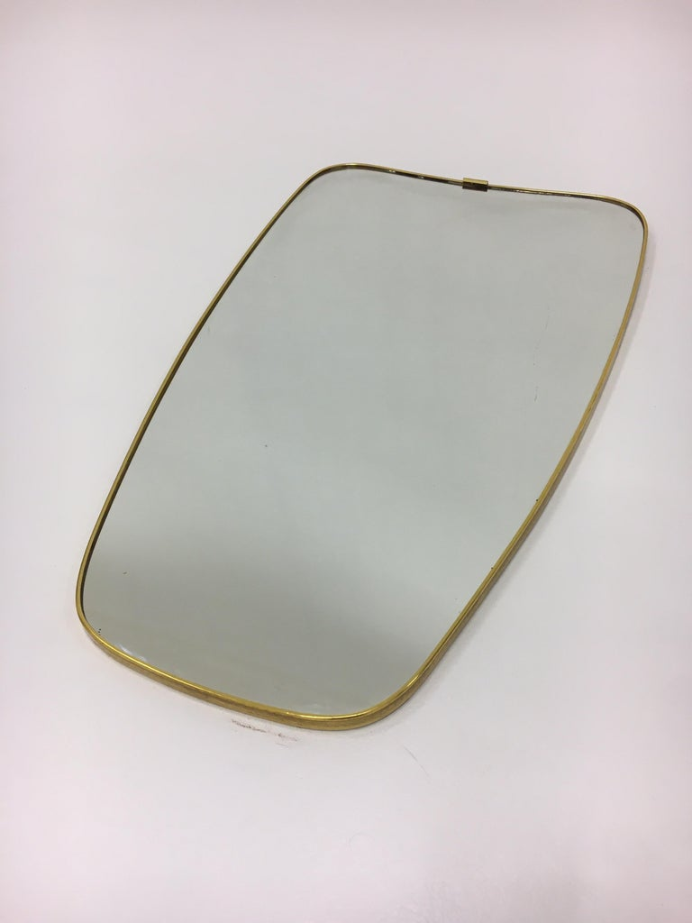 Mid-Century Modern Brass Mirror, Italy 1950s For Sale 2