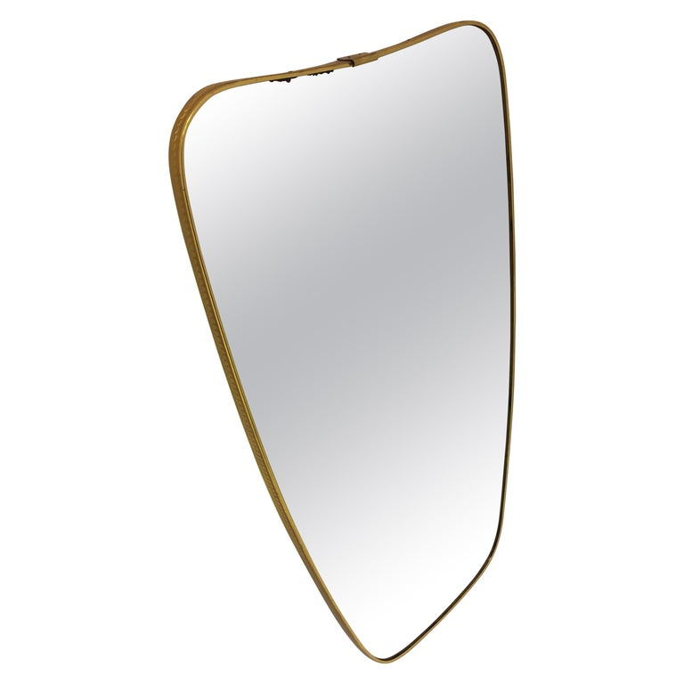 Mid-Century Modern Brass Mirror, Italy 1950s For Sale