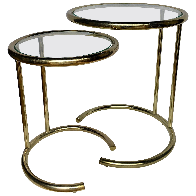 Mid-Century Modern Brass Nesting Drink Side Tables