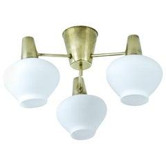 Mid-Century Modern Brass & Opaline Glass Ceiling Lamp by ASEA, Sweden, 1950s