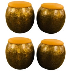 Mid-Century Modern Brass Ottomans, Stools or Side Table With Fine Leather