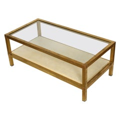 Mid-Century Modern Brass, Parchment and Glass Coffee Table