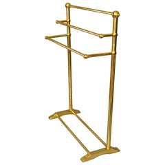 Mid-Century Modern Brass Pedestal Three-Tier Towel Rack, Stand Made in England