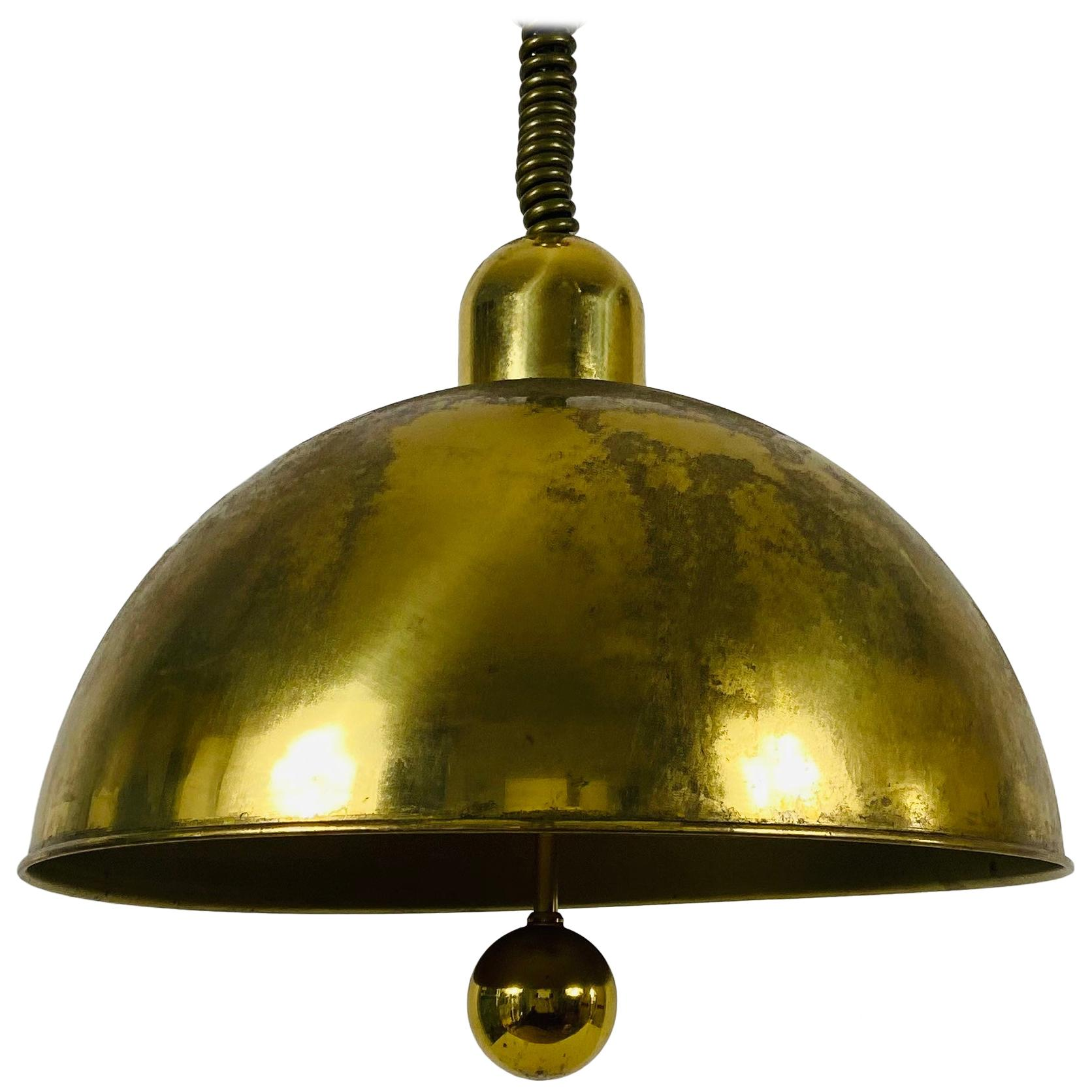 Mid-Century Modern Brass Pendant Lamp by WKR, 1970s, Germany