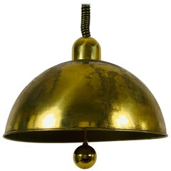 Mid-Century Modern Brass Pendant Lamp by WKR, 1970s, Germany